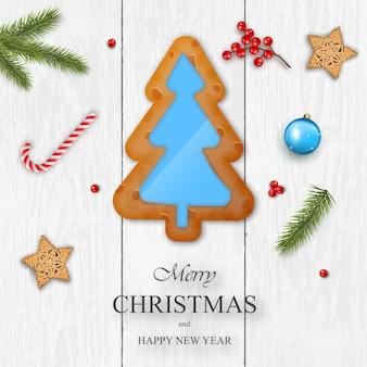 Kerstmis op witte houten achtergrond met peperkoek