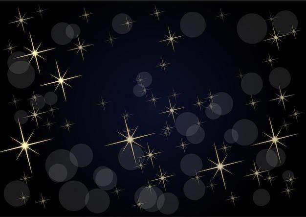 Kerstmis op zwarte, lege achtergrond gemaakt met sterrenhemel en wazige lichten