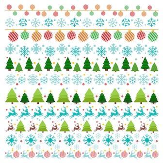 Kerstmis patteren kerstballen tress randeers en sneeuwvlokken