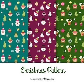 Kerstmis platte elementen patroon