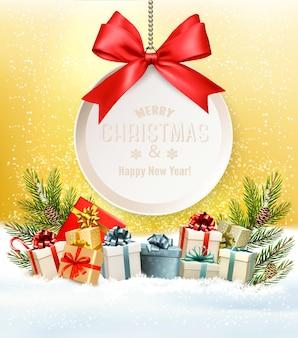 Kerstmis retro achtergrond met de giftkaart van boomtakken