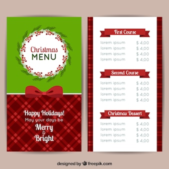 Kerstmis retro menu