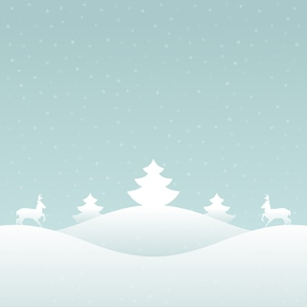 Kerstmis retro winter lanscape en bomenachtergrond.