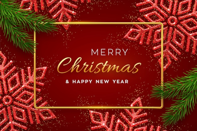 Kerstmis rode achtergrond met glanzende sneeuwvlokken en pijnboomtakken