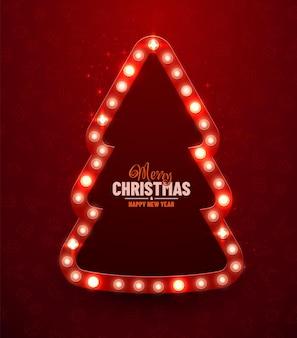 Kerstmis rode achtergrond retro kerst licht teken