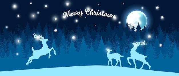 Kerstmis sneeuw bos winter achtergrond vector blauw nacht boom silhouet landschap maan rendier