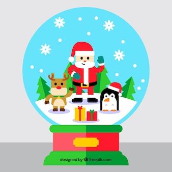Kerstmis snowglobe achtergrond