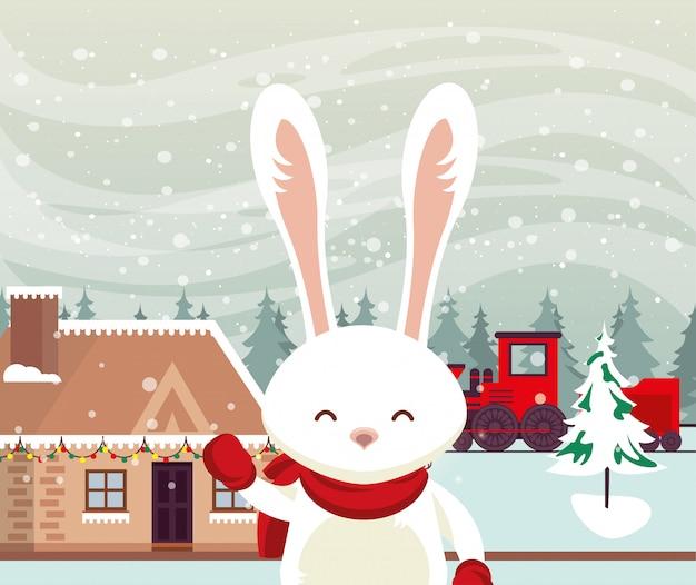 Kerstmis snowscape scène met konijn
