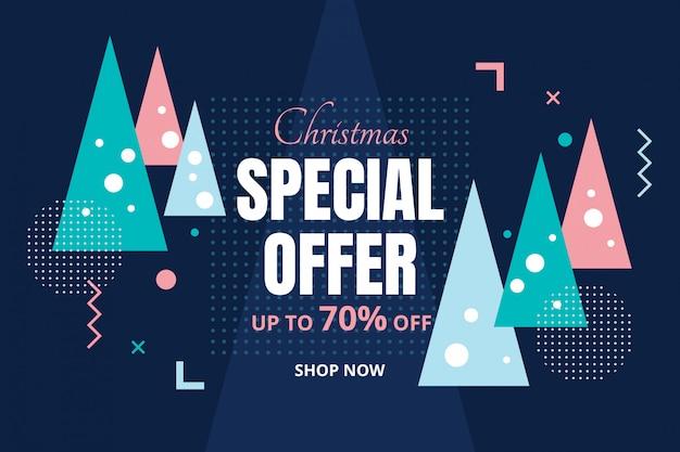 Kerstmis speciale aanbieding concept in abstracte kerstbomen achtergrond