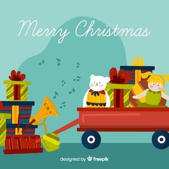 Kerstmis speelgoed achtergrond
