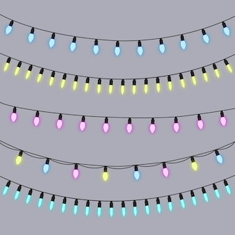 Kerstmis steekt naadloze vector, reeks kleurrijke leidene lichten aan