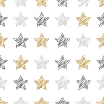 Kerstmis sterren naadloze patroon gekrabbel tekening achtergrond