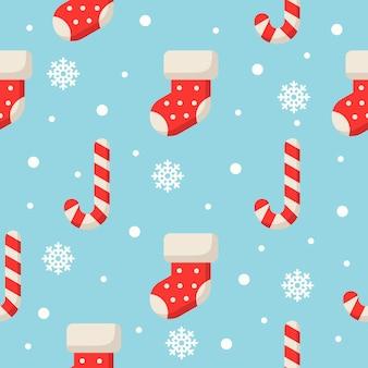 Kerstmis tekens naadloze patroon op blauw