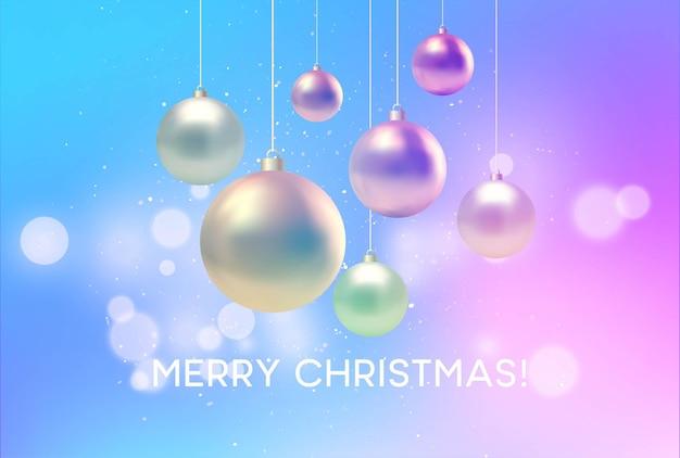 Kerstmis vage roze en blauwe achtergrond met snuisterij. vectorillustratie eps10