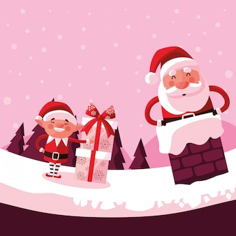 Kerstmis van de kerstman in schoorsteen met helper