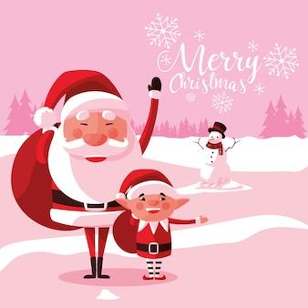 Kerstmis van de kerstman met helper en sneeuwman