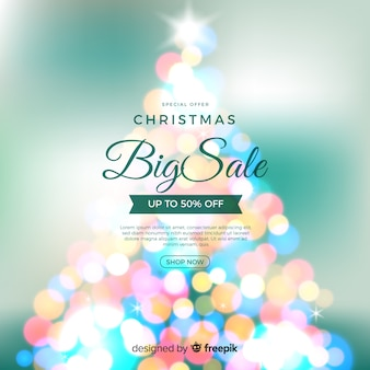 Kerstmis verkoop achtergrond met bokeh