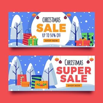 Kerstmis verkoop banners met super verkoop