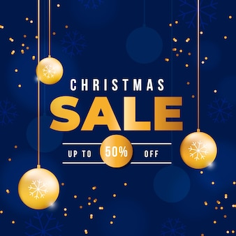 Kerstmis verkoop concept met gouden achtergrond