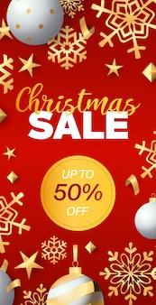 Kerstmis verkoop flyer ontwerp met kortingscode