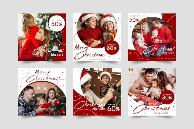 Kerstmis verkoop instagram post collectie
