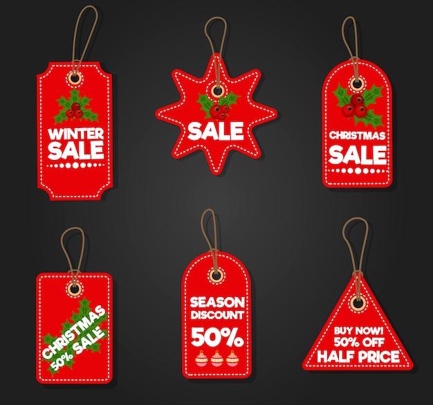 Kerstmis verkoop papier tag korting xmas winter aanbieding reclame winkelen promotie vectorillustratie.
