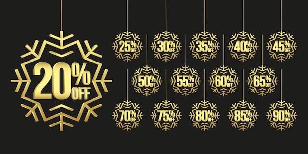 Kerstmis verkoop tags met gouden sneeuwvlokken
