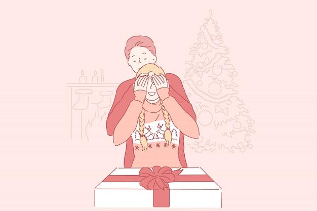 Kerstmis, verrassing, familieconcept