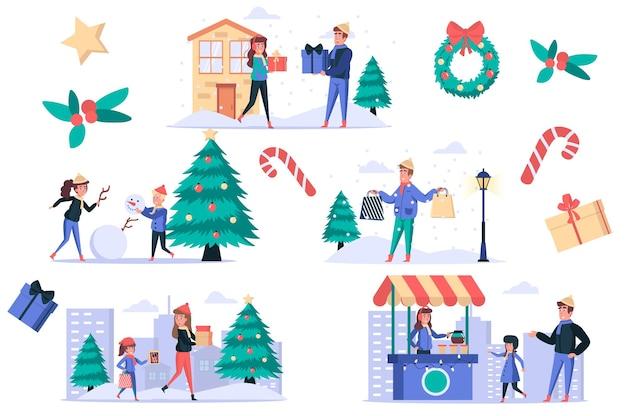 Kerstmis viert geïsoleerde elementen set bundel van mensen kopen en geven geschenken maken sneeuwpop