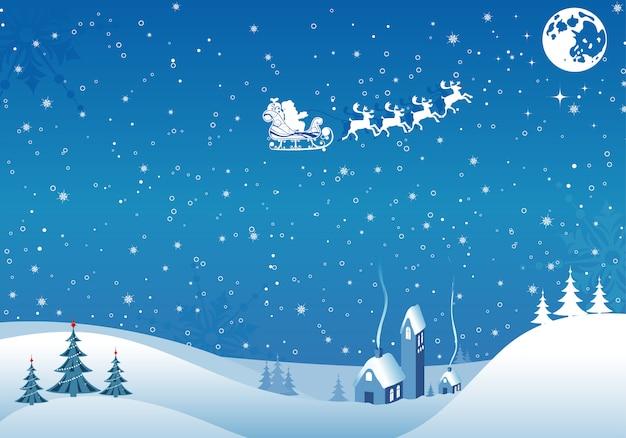 Kerstmis vintage achtergrond met santa en herten