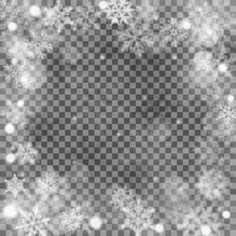 Kerstmis wazig illustratie van complexe intreepupil grote en kleine vallende sneeuwvlokken in witte en grijze kleuren met bokeh-effect op transparante achtergrond