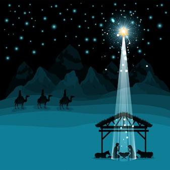 Kerstmis woestijn scã¨ne met heilige familie in stal