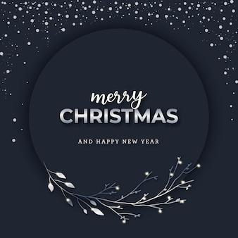 Kerstmis zilveren banner op donkere besneeuwde achtergrond