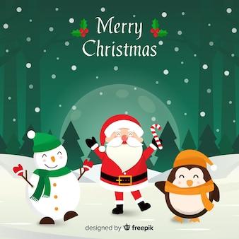 Kerstmis zwaaiende ilustrationachtergrond van karakters
