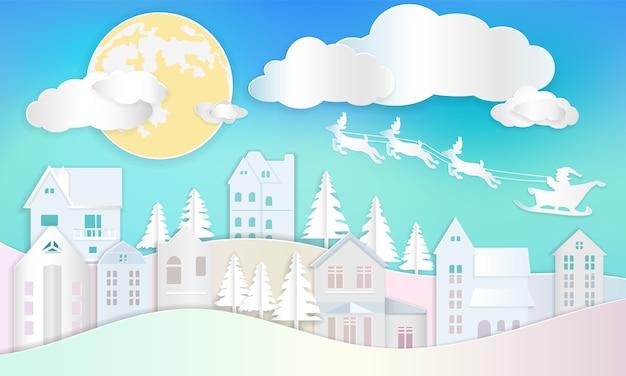 Kerstmisachtergrond, de kerstman op ar met rendier die op blauwe hemel vliegen. papierkunst d