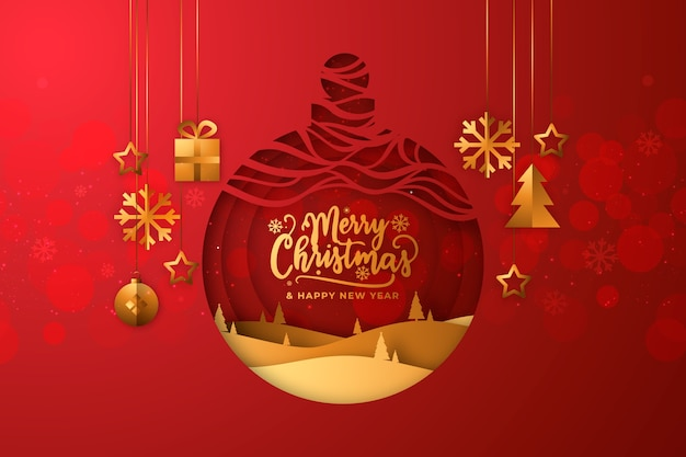 Kerstmisachtergrond in vlak ontwerp