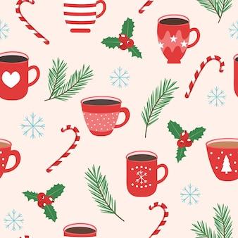 Kerstmisachtergrond, kop met thee en snoep