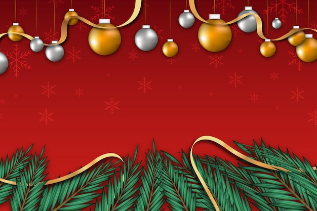 Kerstmisachtergrond met bladlint en bal