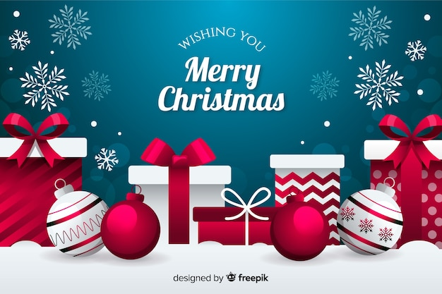 Kerstmisachtergrond met bol en giften vlakke ontwerpstijl