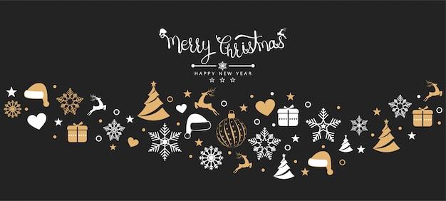 Kerstmisachtergrond met de banner van elementenpictogrammen