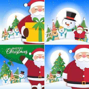 Kerstmisachtergrond met de decoratie die van santa claus en van kerstmis wordt geplaatst
