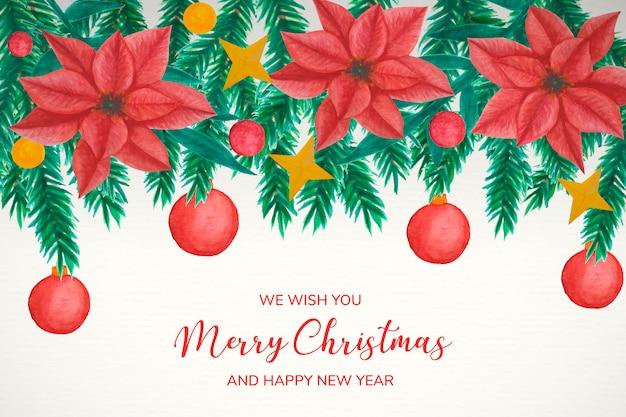 Kerstmisachtergrond met de decoratie van de waterverfmaretoe
