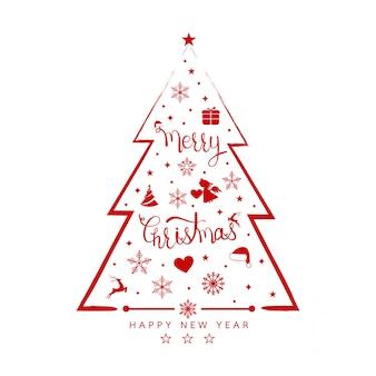 Kerstmisachtergrond met de pictogrammenbanner van het boomelement