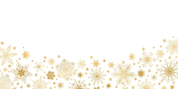 Kerstmisachtergrond met diverse complexe grote en kleine sneeuwvlokken, geel op wit