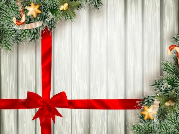 Kerstmisachtergrond met firt-ree.
