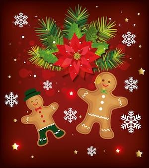 Kerstmisachtergrond met gemberkoekjes en decoratie