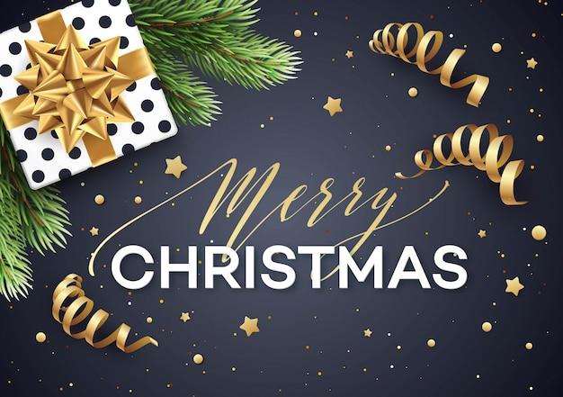 Kerstmisachtergrond met giftdoos met gouden boog.