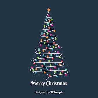 Kerstmisachtergrond met gloeilampenboom
