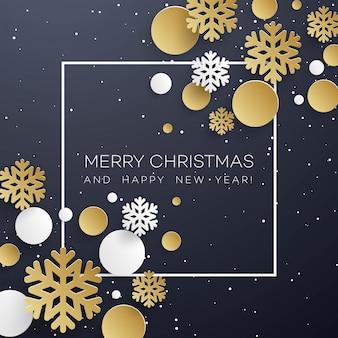 Kerstmisachtergrond met gouden en witboeksneeuwvlokken op zwarte.
