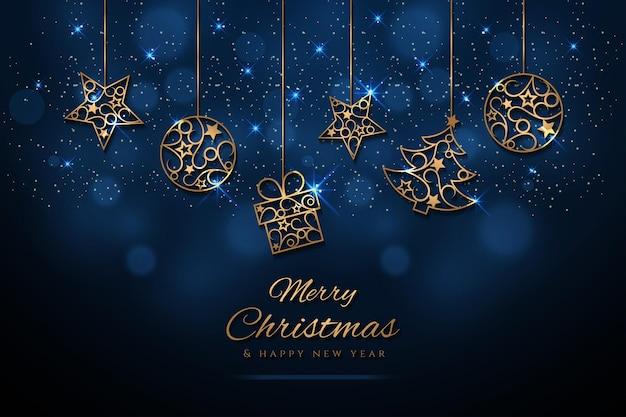Kerstmisachtergrond met gouden kerstmiselementen